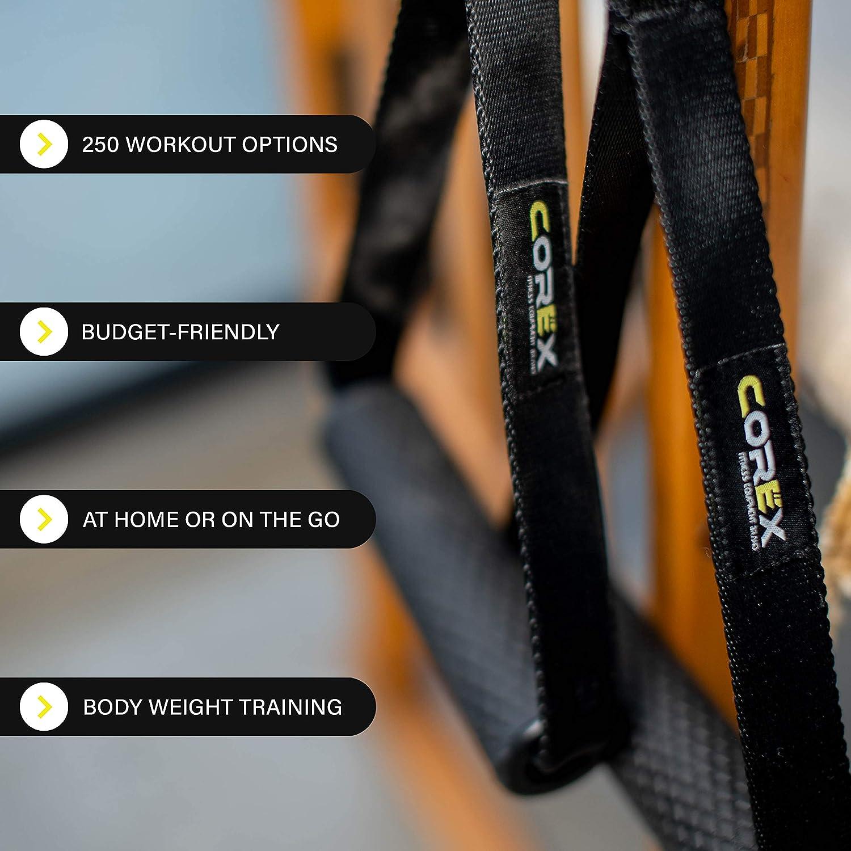 CoreX Alpha sistema de anclaje de resistencia – Correa y asas duraderas para fitness portátil – el mejor gimnasio en casa o en la marcha accesorio de ...