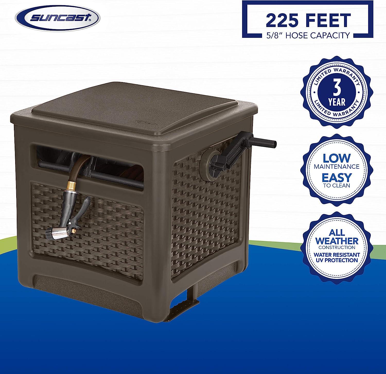 Suncast Resin Hideaway Durable Outdoor Storage Reel with Crank Handle and Slide Trak Guide 225 Hose Capacity Java Lid