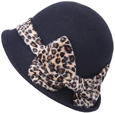 Vintage 40s - Leopard Bow Leo lazos Cloche sombrero Rockabilly ...