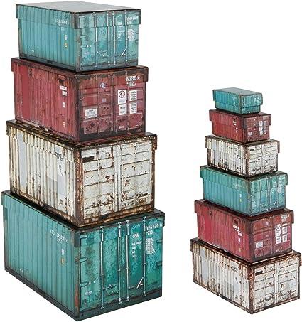 Spetebo Juego de 10 Cajas Decorativas con Tapa, diseño de contenedores: Amazon.es: Hogar