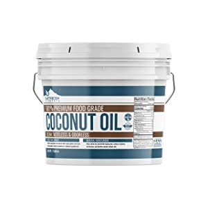Coconut Oil (1 Gallon, 8 lb) by Earthborn Elements, Resealable Bucket, 100% Pure For Skin, Hair, Cooking, Refined, Filtered, Food Grade, Non-Hydrogenated, Flavorless & Scentless, Non-GMO