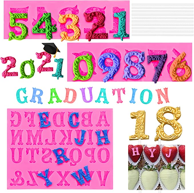 Alphabet Letter Number Silicone Chocolate Mould Cake Mold Decor DIY Tool New