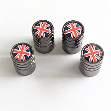 UNION JACK FLAG GREY Car//Bike Valve Alloy wheel dust Caps All models
