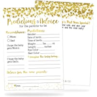50 Gold Baby Shower Prediction and Advice Cards - Baby Shower Games for Girls, Boys or Gender Neutral Party - Advice…