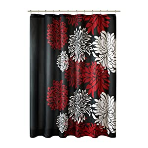Comfort Spaces – Enya Shower Curtain – Black,Red – Floral Printed- 72x72 inches