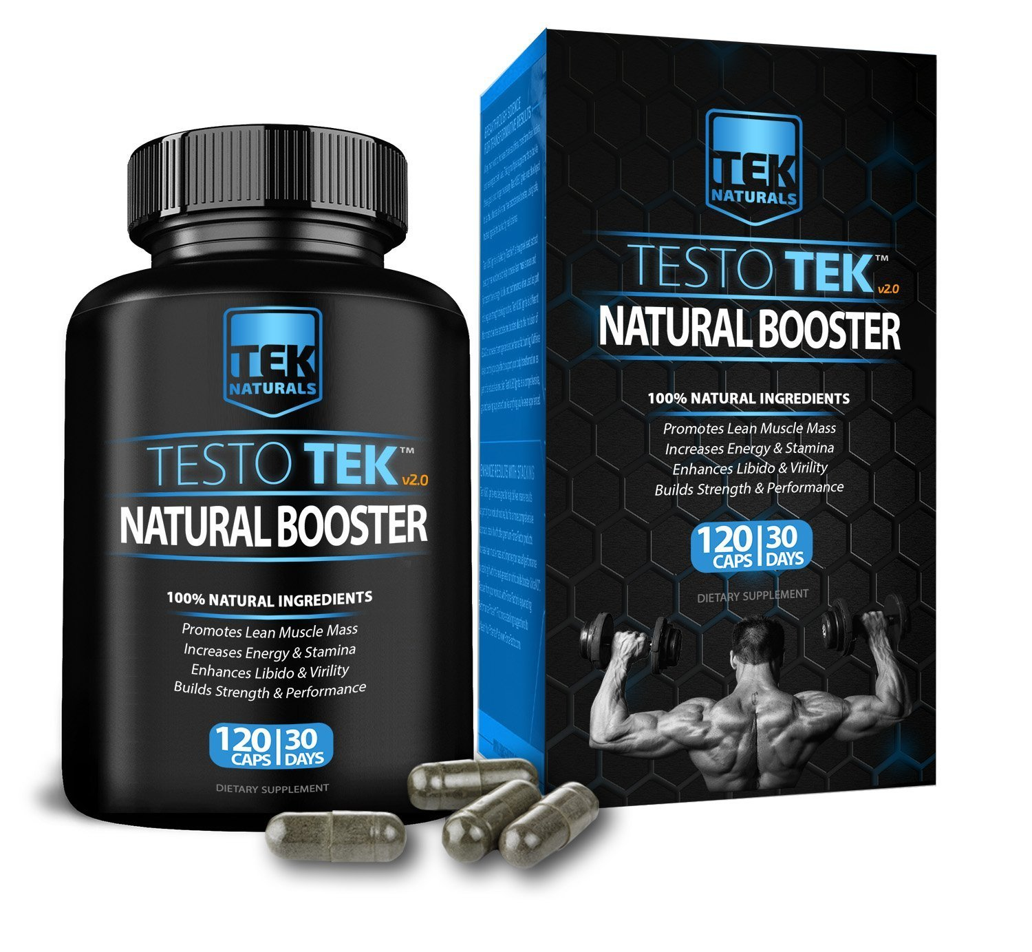 TestoTEK v2.0 All Natural #1 Rated Testosterone Booster - 12 Ingredients, 120 Pills, 30 Day Supply - Strength, Energy, Stamina and More (1)