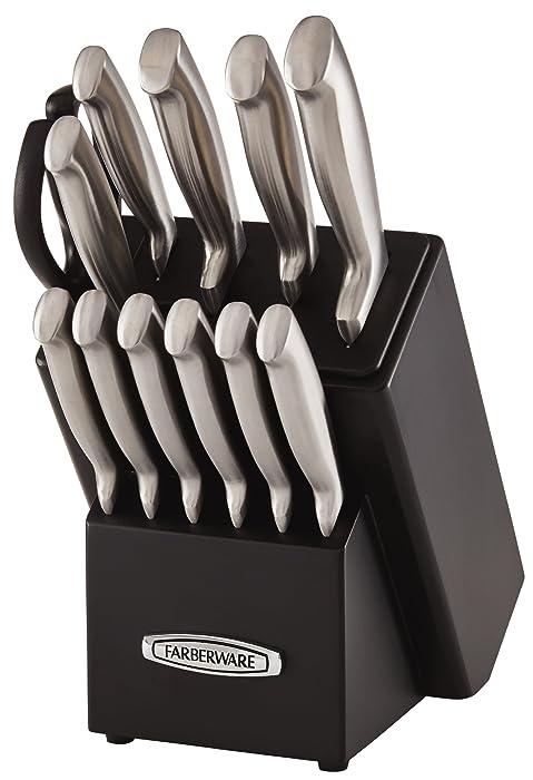 Farberware Self-Sharpening 13-Piece Knife Block Set with EdgeKeeper Technology, Black