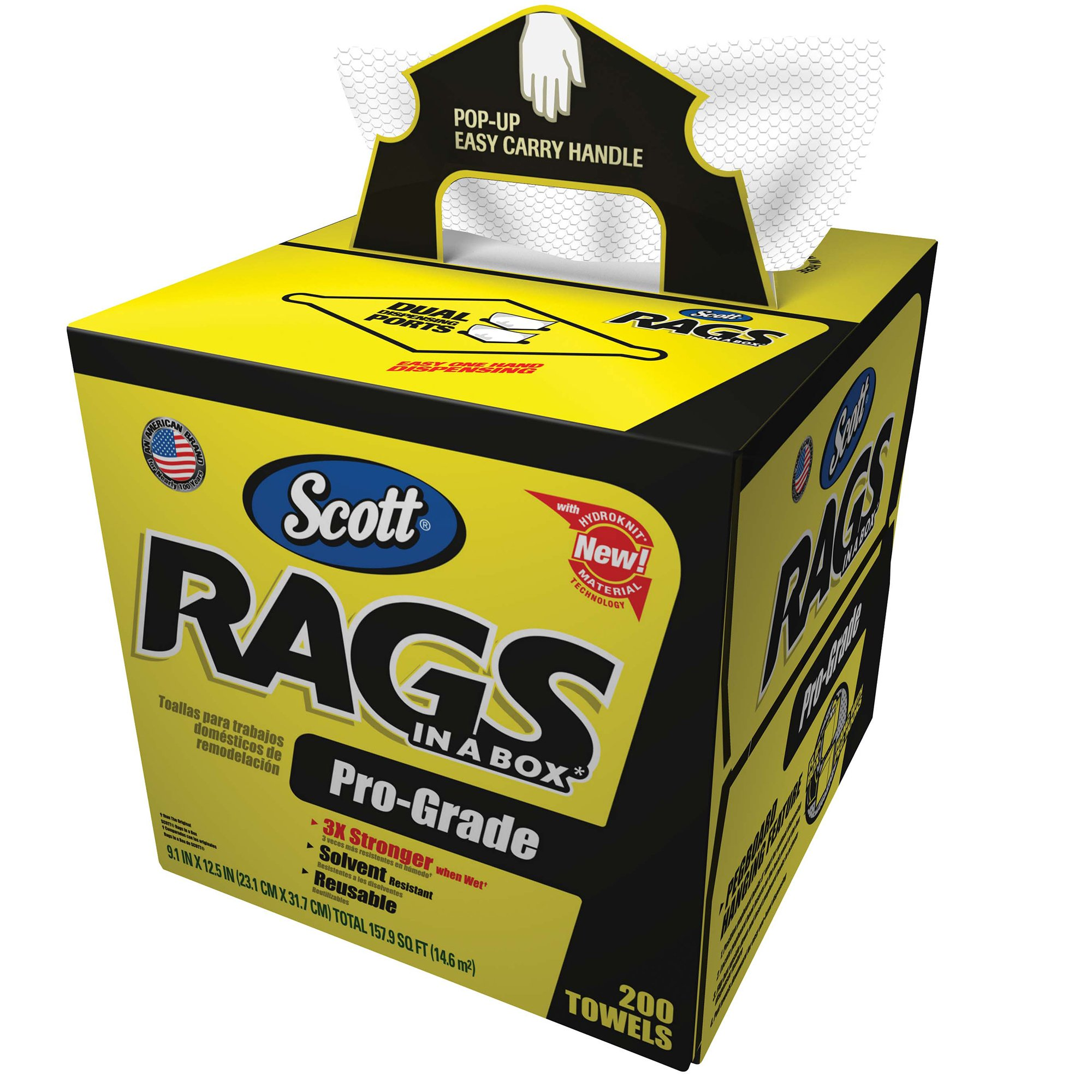 Scott Pro Grade Rags In A Box (39364), Shop Towels for Solvents & Heavy-Duty Jobs, White, 200 Wipes/POP-UP Box