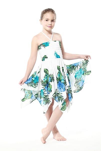 Niña gitano Botón desigual Hawaiian Luau vestido en Blanco con el azul floral12