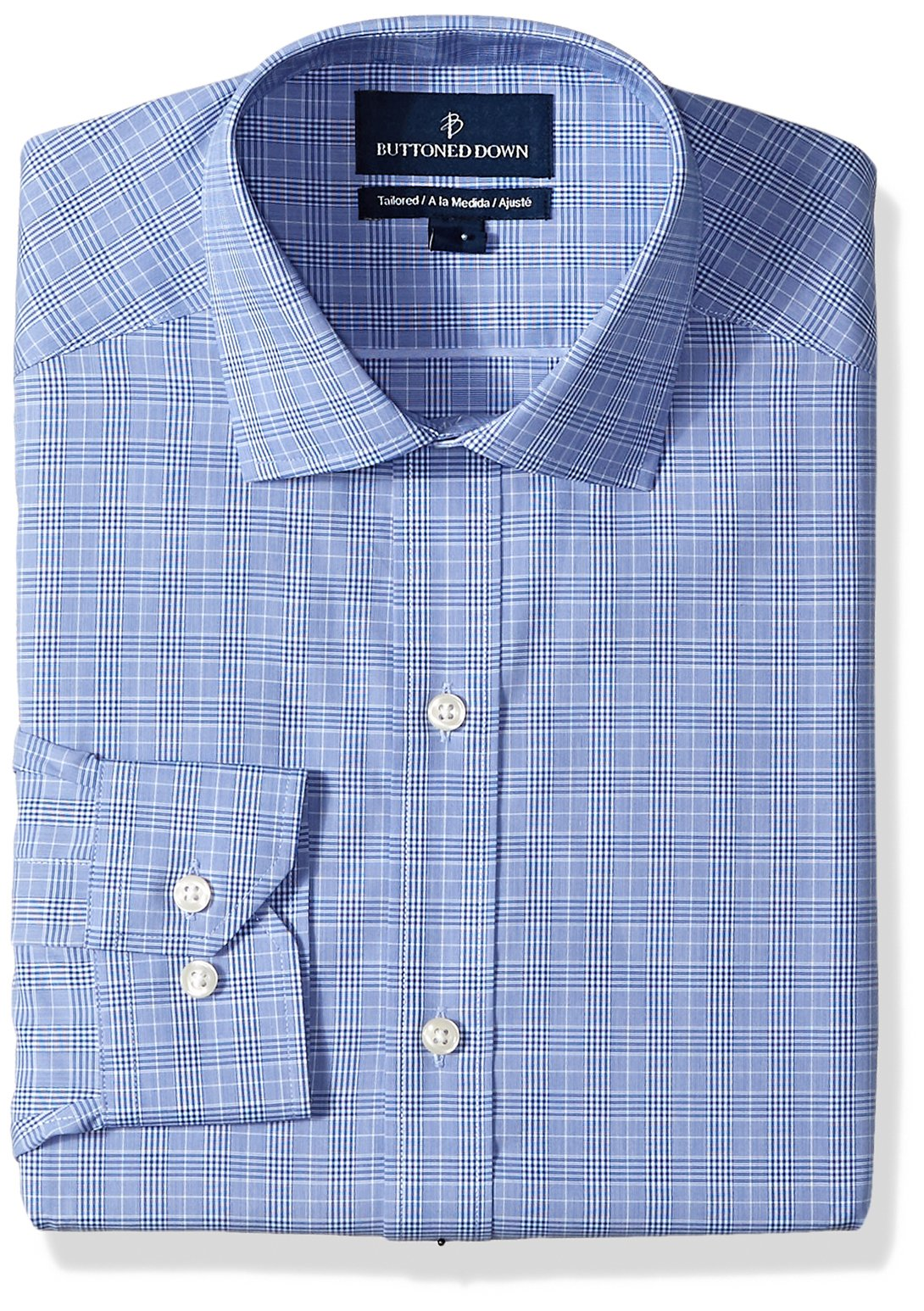 Buttoned Down Men's Tailored Fit Spread-Collar Non-Iron Dress Shirt, Blue Glen Plaid, 15.5'' Neck 33'' Sleeve by Buttoned Down
