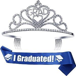 2021 Graduation Party Supplies Kits, Glittered Metal Graduation Princess Grad Crown Tiara and Graduated Sash Present for Graduation Party Decorations Grad Decor Favors (Blue)