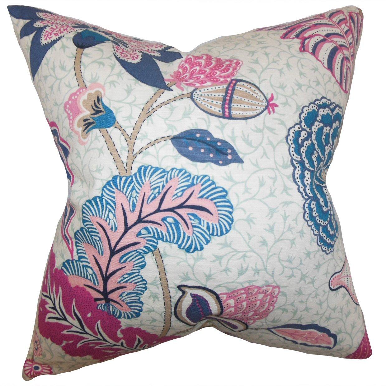 The Pillow Collection Ahna Floral Bedding Sham Aqua Queen//20 x 30