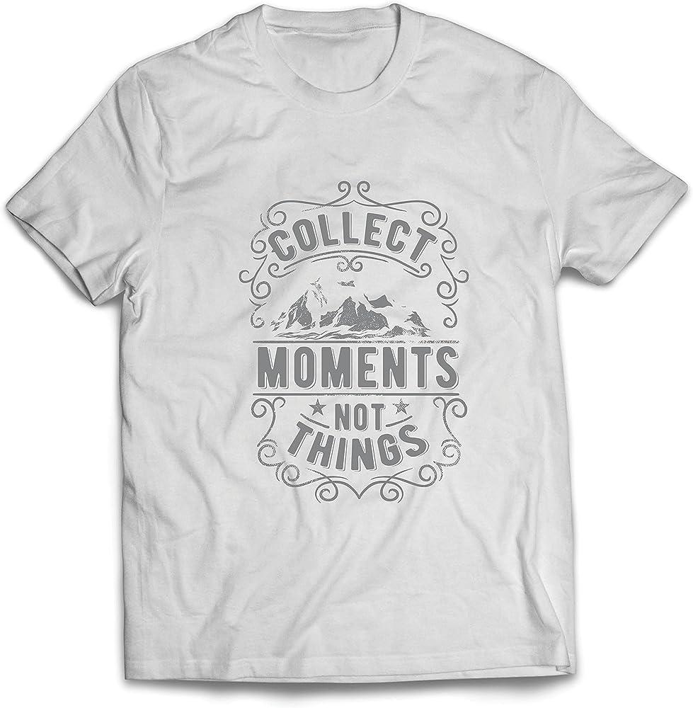 lepni.me Camisetas Hombre Citas Inspiradoras de Viajes, recolecta Momentos, no Cosas (Small Blanco: Amazon.es: Ropa y accesorios