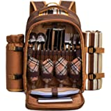 APOLLO WALKER Picnic Backpack (Brown for 4 with Wine Glasses)