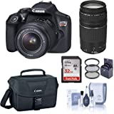 Canon EOS Rebel T6 DSLR Camera with EF-S 18-55mm and EF 75-300mm Lens Bundle with Bag