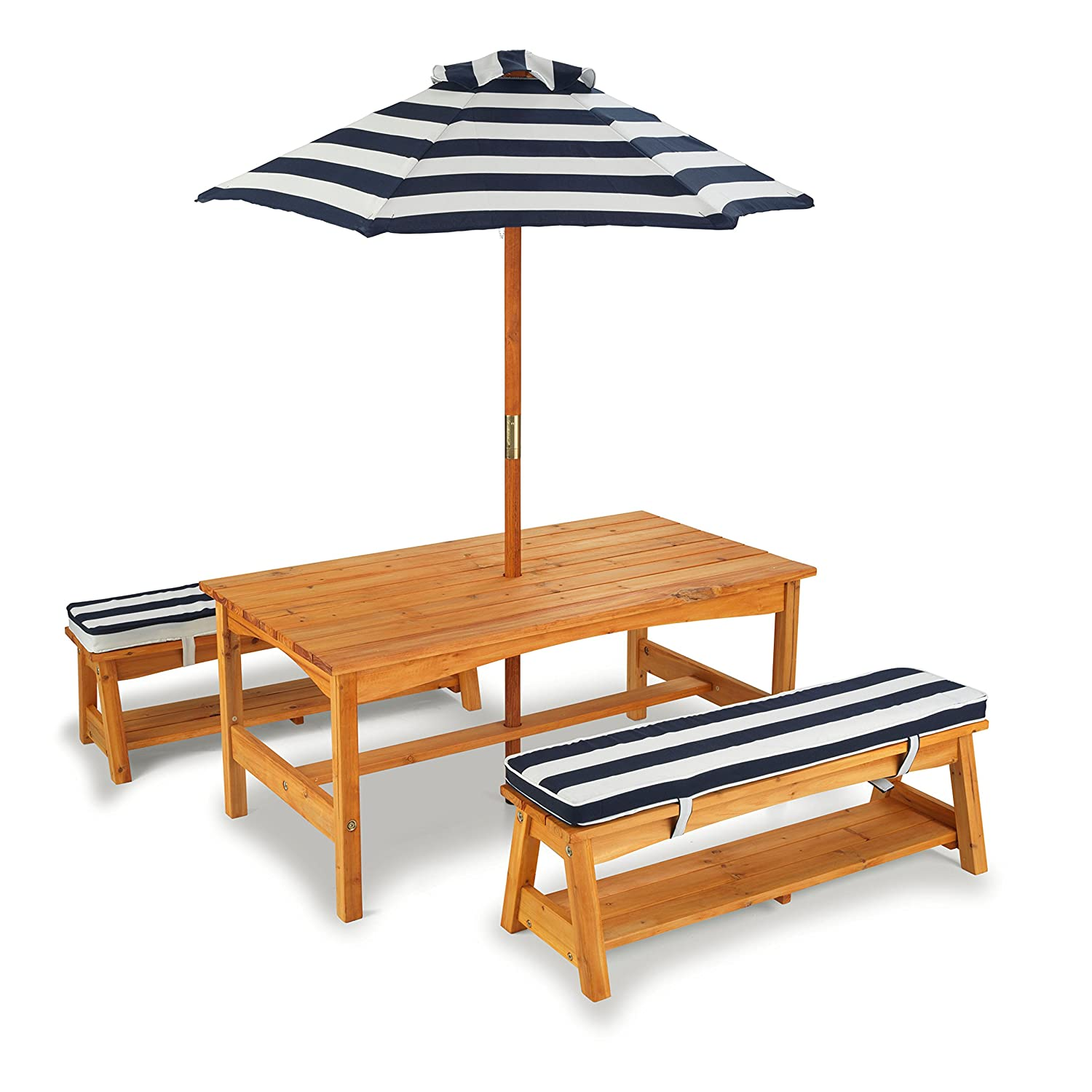 Amazon.com: KidKraft Outdoor Table And Chair Set With Cushions And Navy  Stripes: Toys U0026 Games Part 77