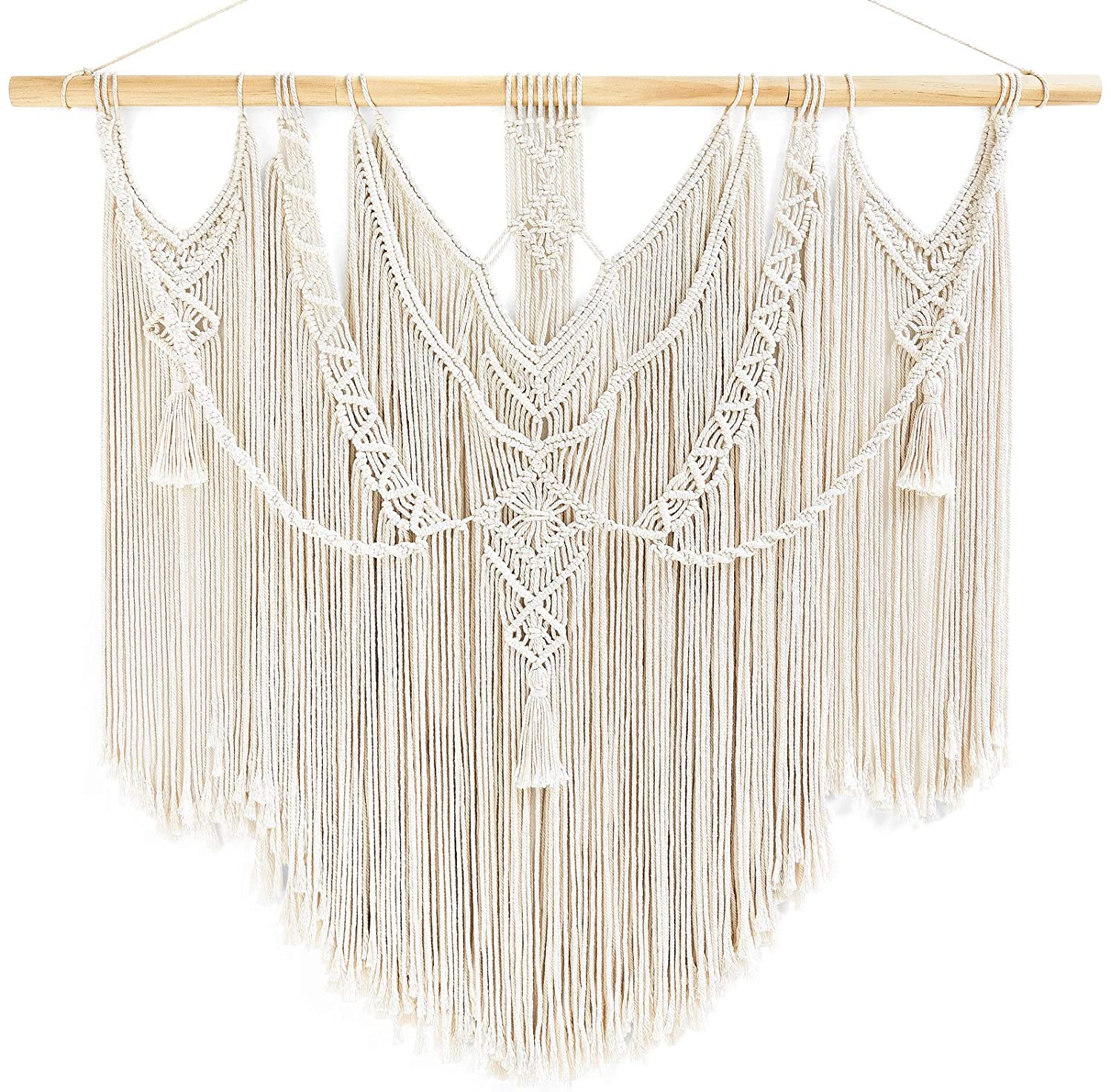 """Mkono Large Macrame Wall Hanging BohoTapestry Decor Chic Woven Home Decoration for Bedroom Living Room Apartment Dorm Gallery Perfect Handmade Gift Ideas, 36""""x35"""""""