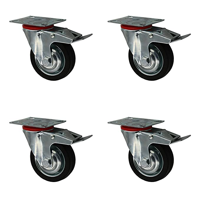 4 St/ück 75 mm Vollgummirolle Transportrolle als Lenkrolle mit Totalstop