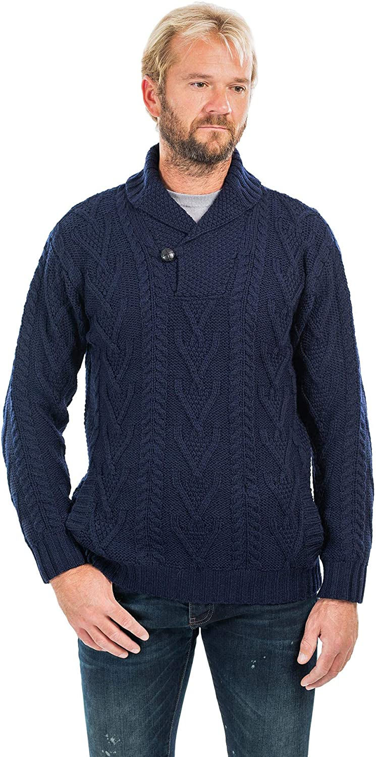 100% Merino Wool Men's Shawl Collar Single Button Irish Cable Knit Sweater Knitwear with Pockets