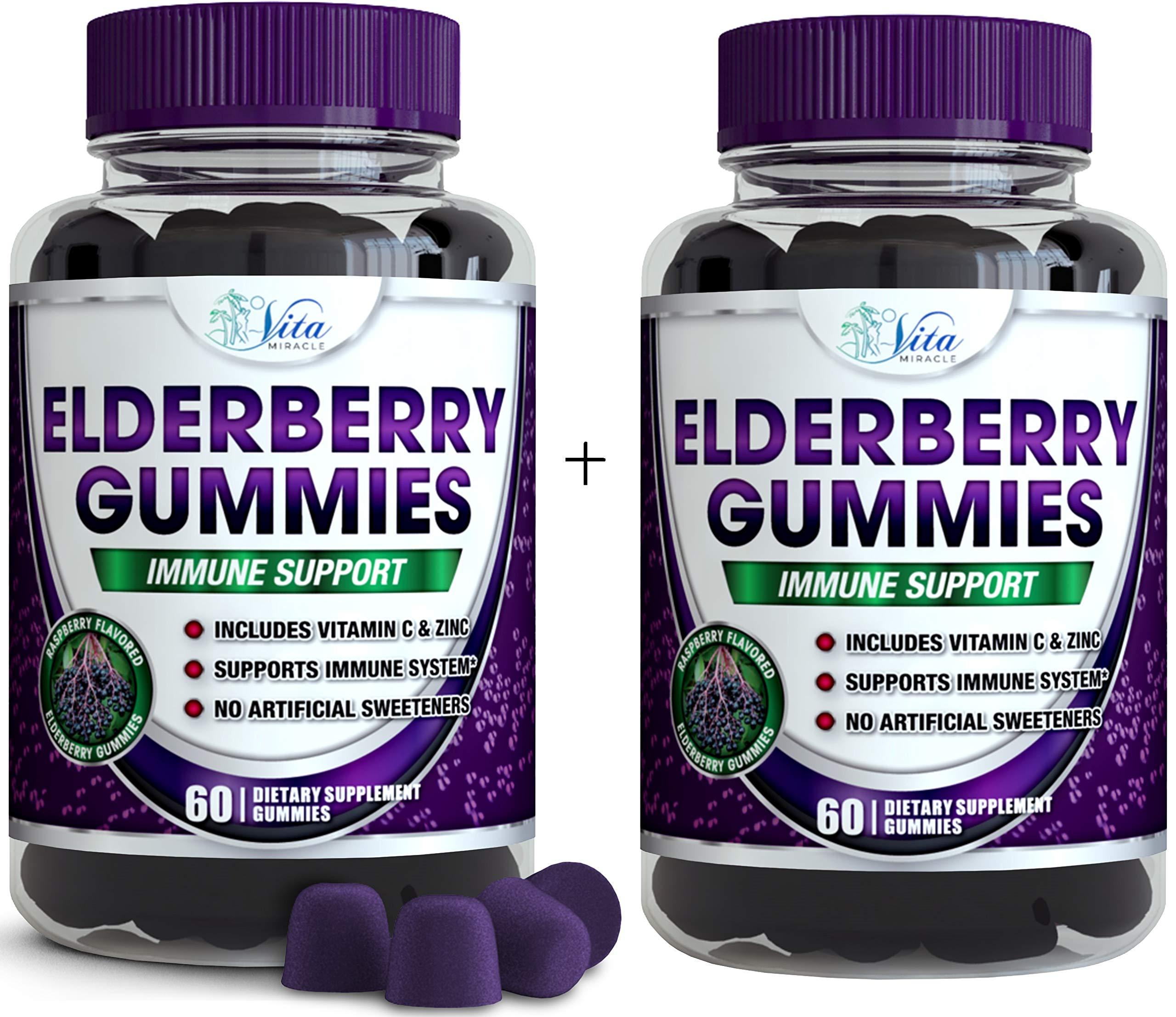 Elderberry Gummy Immune Support Kids - and Adults Cold and Flu Immune Support for Adults and Children Black Elderberry Gummy Organic Vegan Natural Formula (2 Pack)