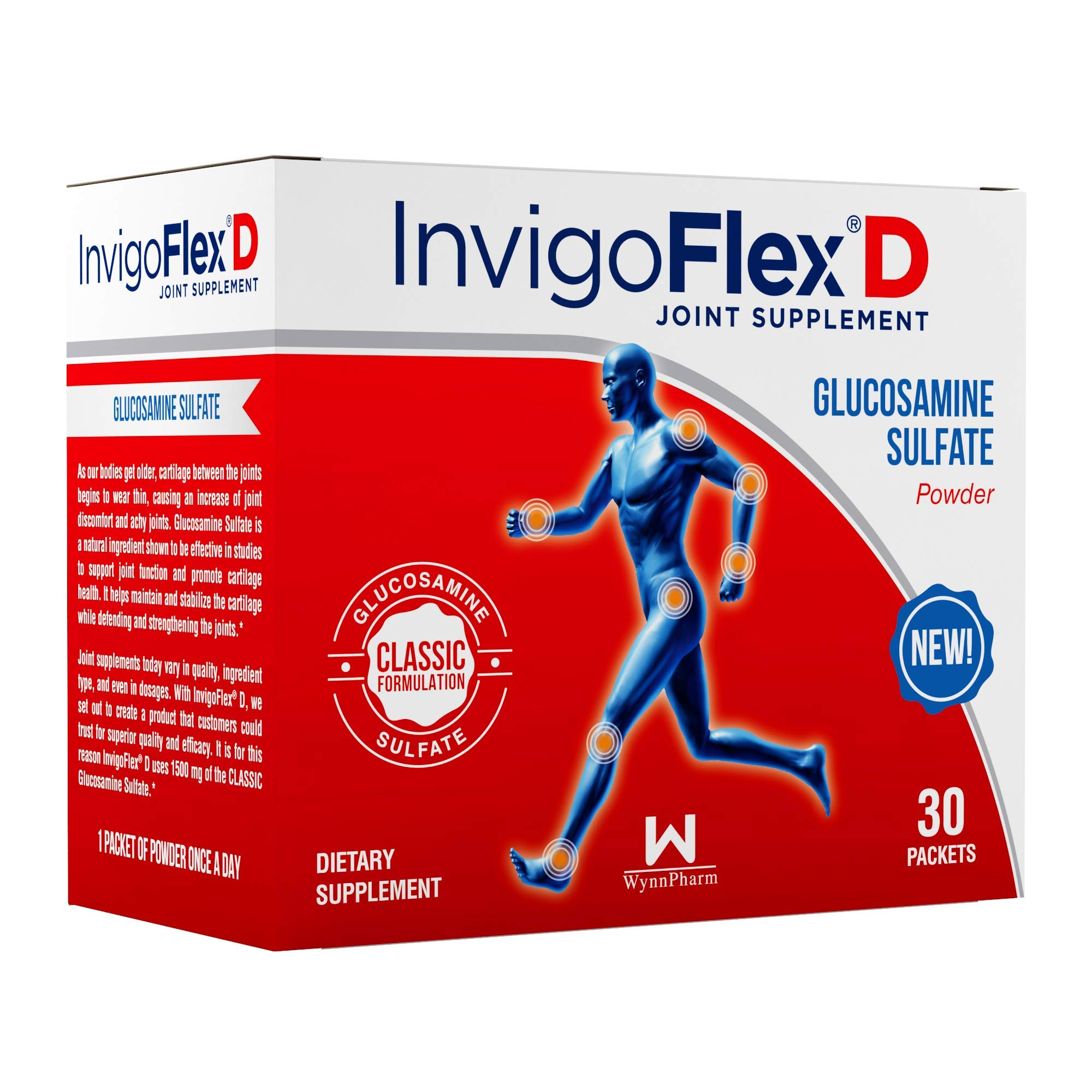 1500mg of Glucosamine Sulfate Powder (Classic Formulation) - Premium Joint Pain Relief Supplement for Knees, Hands, Back, and Hip Support by InvigoFlex® D: Glucosamine Sulfate, Packets - 30 Packets by INVIGOFLEX