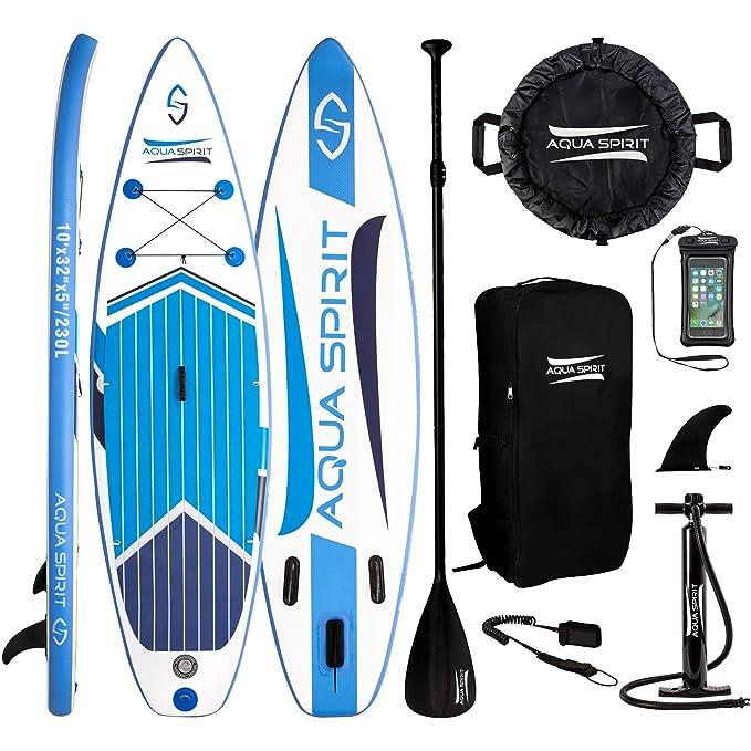 AQUA SPIRIT 300x80x12.5cm ISUP Tabla Hinchable de Paddle Surf Sup para Principiantes Kit Nivel con Pala Ajustable de Aluminio, Accesorios Completos, ...