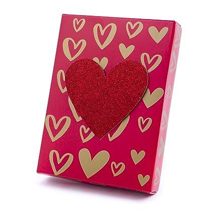 Amazon Com Hallmark Gift Card Holder Box Gold Hearts On Red