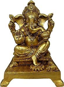 Tathastu Ganesha Hindu God of Luck Ganesh 7 inch Superfine Workmanship - Ganesha is a god of Wisdom, Success and Good Luck - Brass Statue