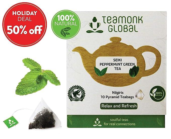 Teamonk Nilgiri Peppermint Green Tea For Weight Loss 10 Teabags