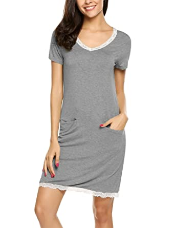f12cdec1d0 Ekouaer Women s Nightgown Modal Sleep Tee Sleep Shirt V-Neck Short Sleeve  Sleepwear Grey S