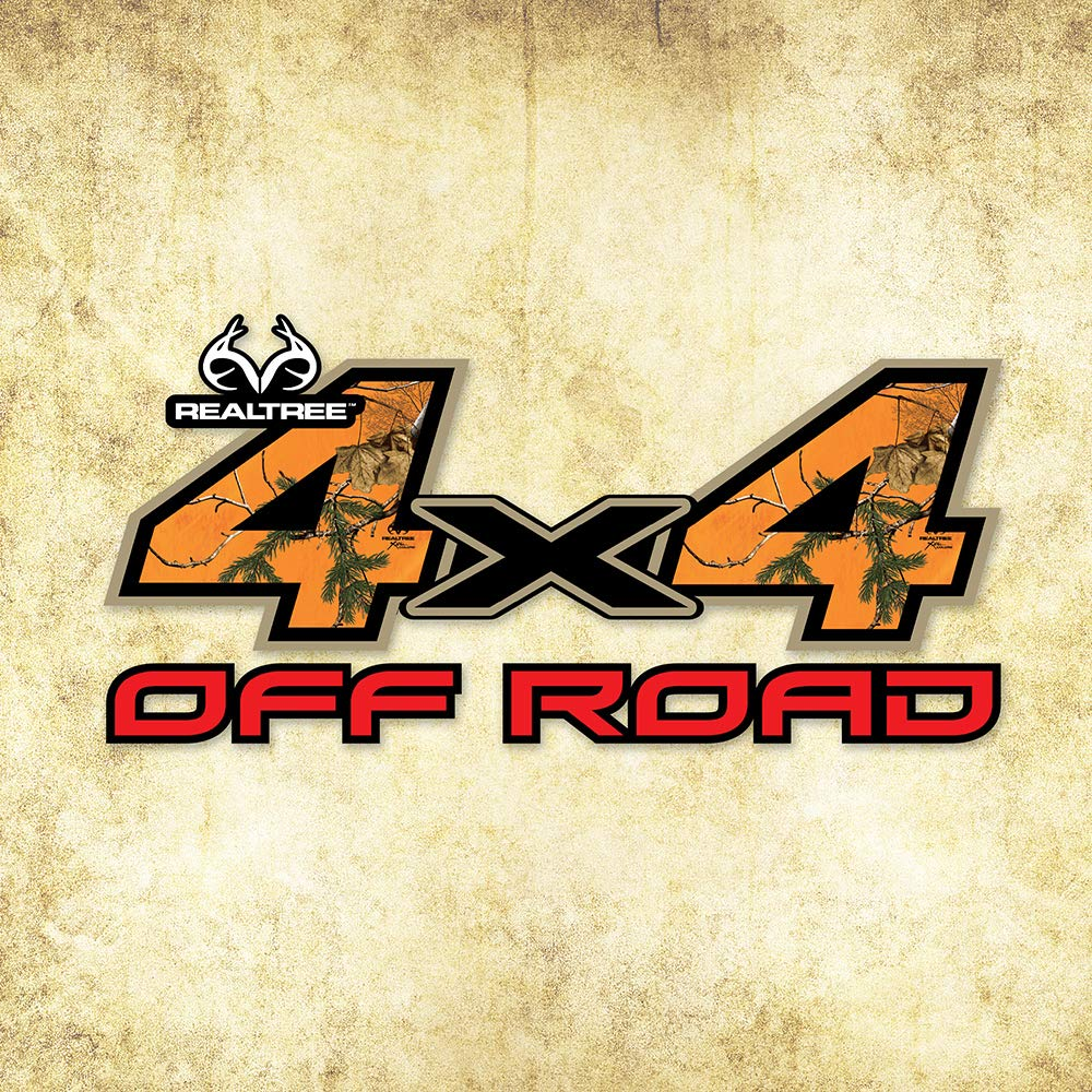 Realtree Camo Graphics RT-4x4-XTBLZ 4X4 Off Road Contour-Cut Decal in Realtree Extra Blaze Size 6.25in x 13.25in Camo Graphics Wrap