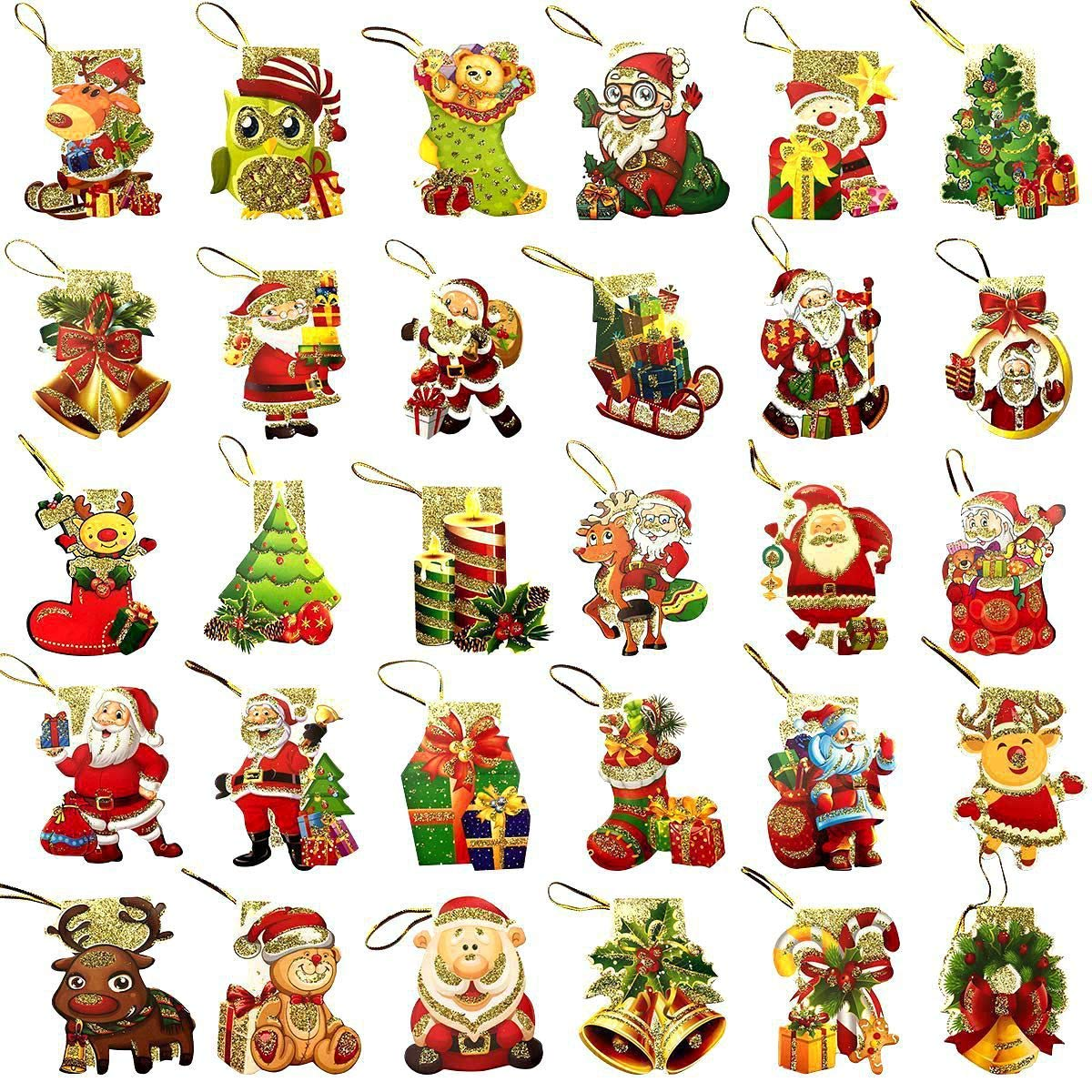 CODOHI Weihnachts-Geschenkanhä nger zum Anbinden mit Kordel, 240 Stü ck Christmas Cards Diamond Painting Kit 8 PCS
