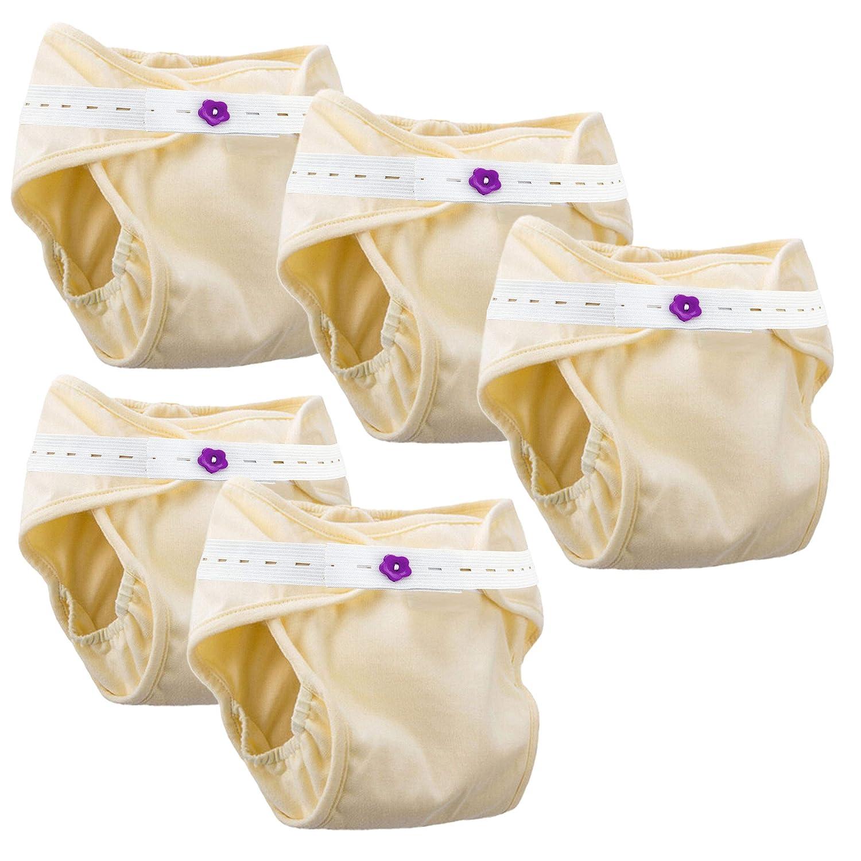 Lantelme 7326 Lot de 5 Couche lavable avec sangles élastiques au niveau des ventres. Réutilisable pour bébé unisexe jusqu'à 15 kg