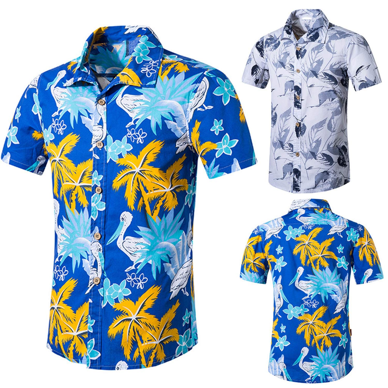Dersimio Mens Beach Hawaiian Shirt Tropical Summer Short Sleeve Shirt Men Clothing Casual Loose Cotton Button Down Shirts Blue-L