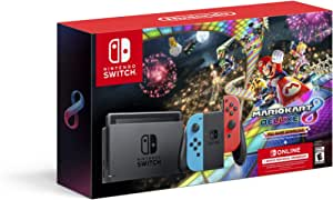 Nintendo Switch with Neon Blue & Neon Red Joy-Con + Mario Kart 8 Deluxe (Full Game Download) + 3 Month Switch Online Membership