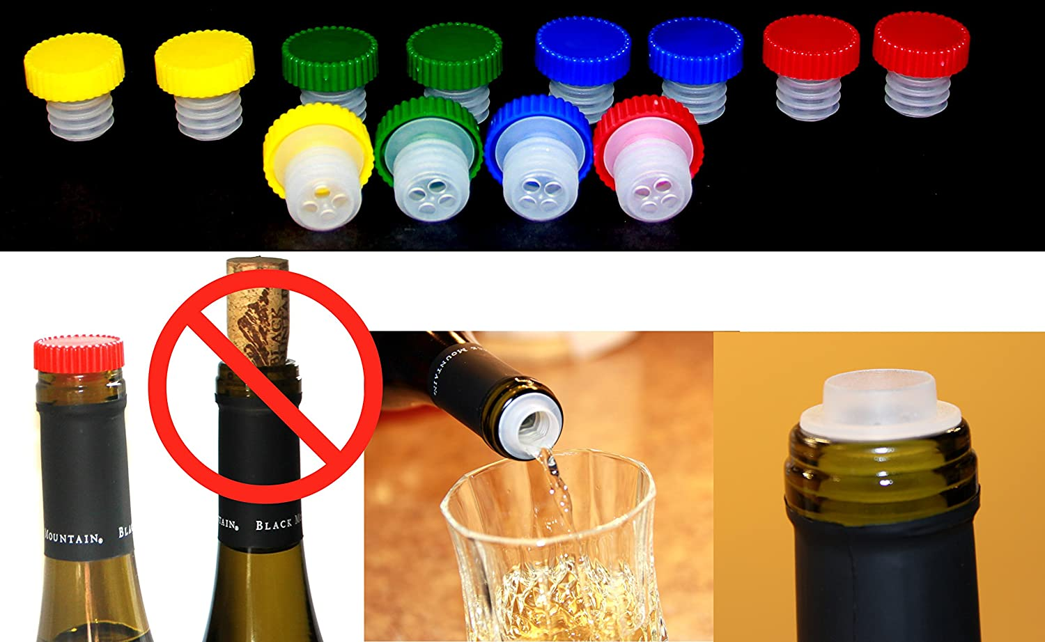 12pc Colorful Slow Wine Pourer Stopper Aerator Saver Slo Vino Makes a Great Gift For Wine Lovers ALAZCO AZ12SVP