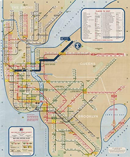 New York City Subway Map Design.Amazon Com Historic Pictoric Map New York City Transit Maps Nyc