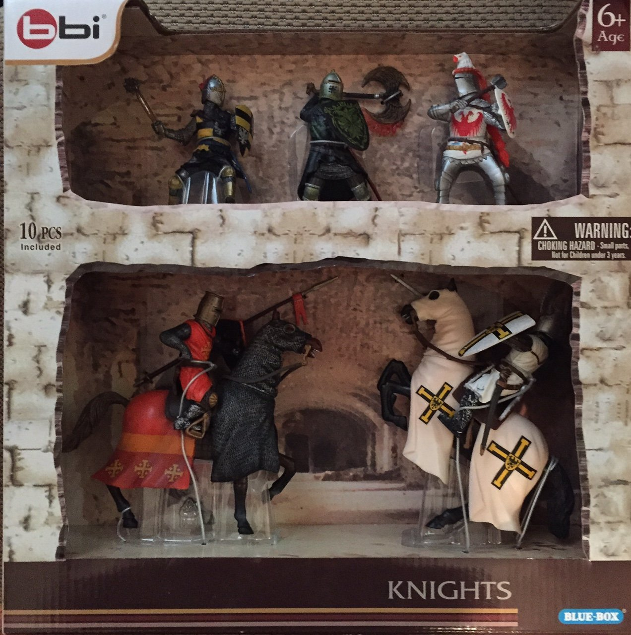 bbi Blue Box Knights Action Figures with Horses Approx 4 tall Standing 6 tall Mounted