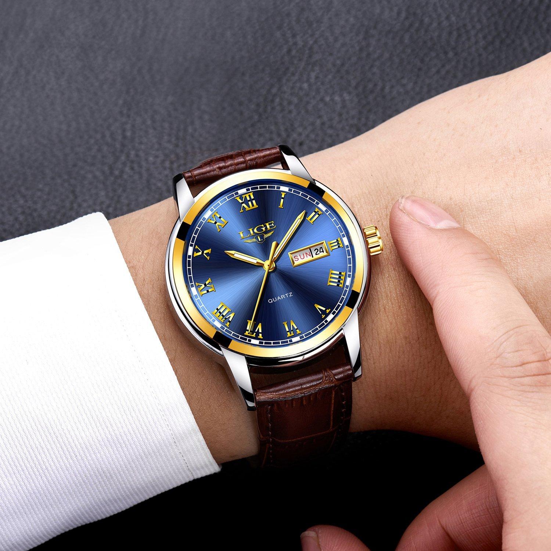 Relojes para Hombre, Moda Simple Leahter Reloj de Cuarzo Moda Casual Lujo Reloj de Pulsera de Negocios Impermeable para Hombre Deporte Relojes: Amazon.es: ...