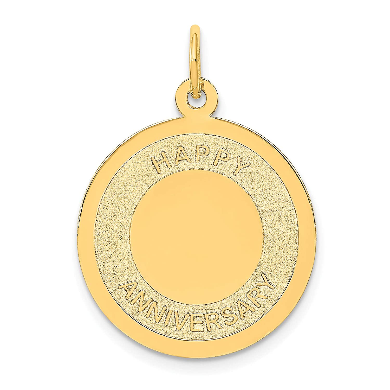 Mireval 14k Yellow Gold Happy Anniversary Charm 20 x 27 mm
