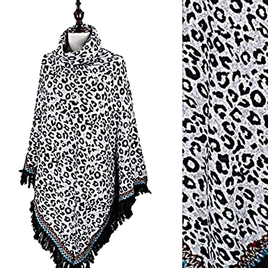 Amazon Com Animal Leopard Print Ladies Wrap Shawl Poncho With