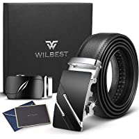 Wilbest Cinturón Cuero Hombre, Cinturón Para Hombres, Cinturón Cuero Hebilla Automática, Cinturones Piel con Hebilla Automática - Traje Para Ropa Formal/Jeans
