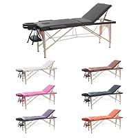 H-ROOT 3 Zonen Massagetisch Leichtes tragbares Couch Bett Sockel Therapie Tatoo Salon Reiki Healing Schwedische Massage 13.5KG (Schwarz)