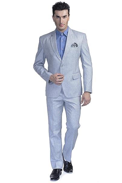 Amazon.com: luxurazi de los hombres azulada Lino Mezclado ...