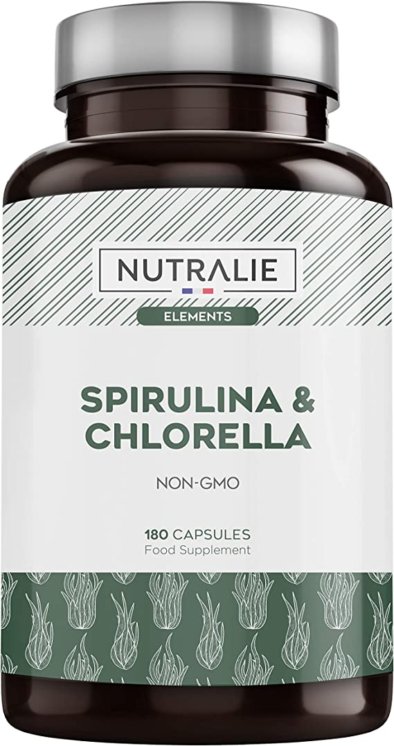 Espirulina & Chlorella 1800mg   Detox, Energía, Fuerza y Efecto Saciante   Superalimento Rico en Proteínas y Vitaminas   180 Capsulas 100% Veganas   ...