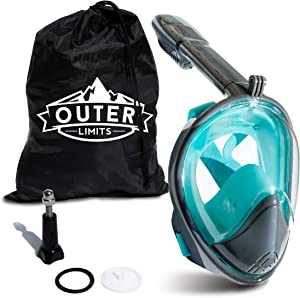 Outer Limits Full Face Snorkel Mask Adult - FullFace Snorkel Mask with Carrying Bag Included. Fog Free Panoramic Views with Easy Breathe Design and Longer Snorkel, GoPro Compatible Snorkel Gear