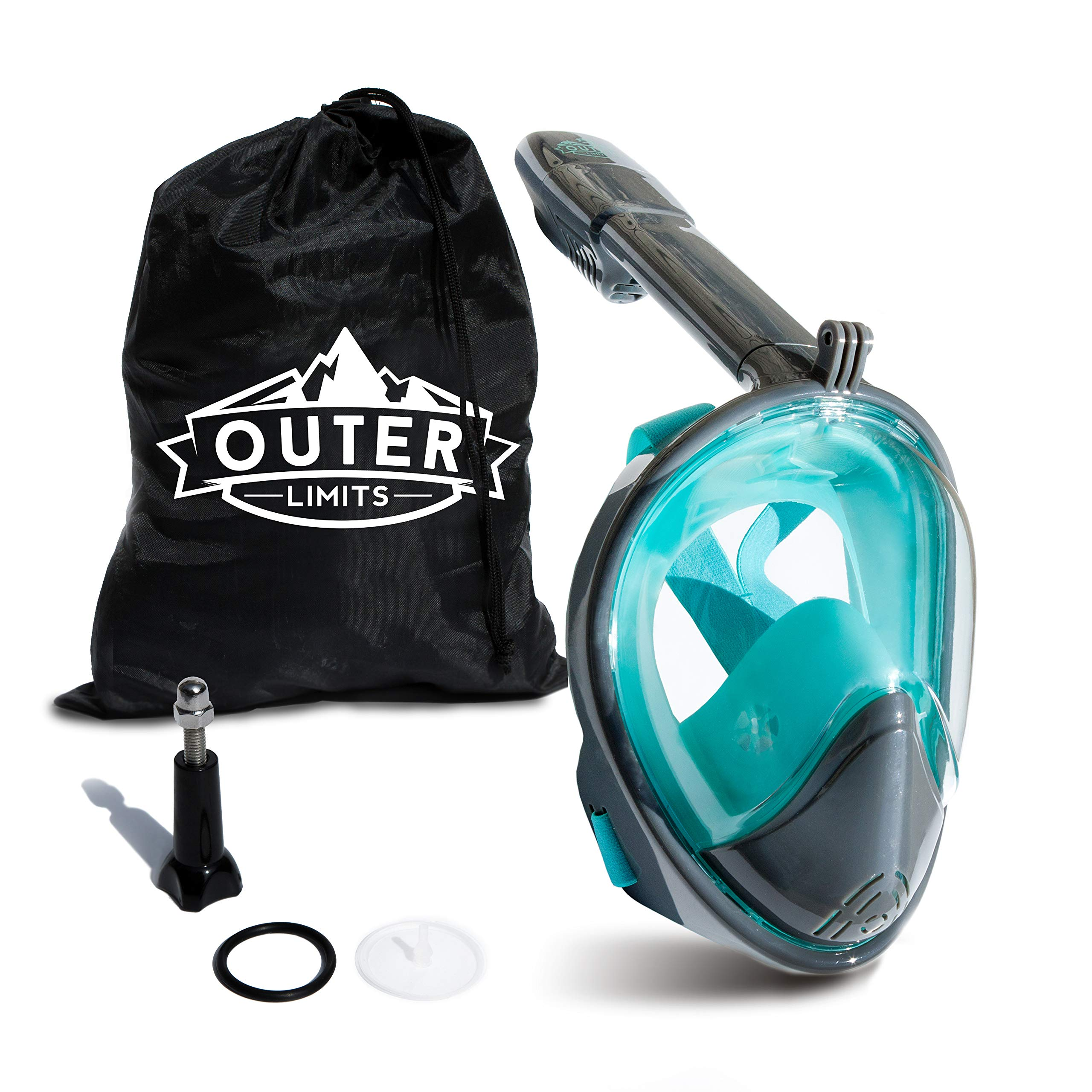 Outer Limits Full Face Snorkel Mask Adult - Works with GoPro - Scuba Mask - 180° Panoramic View - New 2019 Bubble Design with a Longer Snorkle - Snorkeling Gear - Adult Mask and Snorkel Sets by Outer Limits