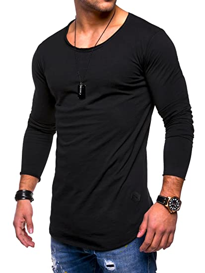 e881eceaa5cb XARAZA Men's Slim Fit Long Sleeve Muscle Breathable T-Shirt Tops (Balck A,