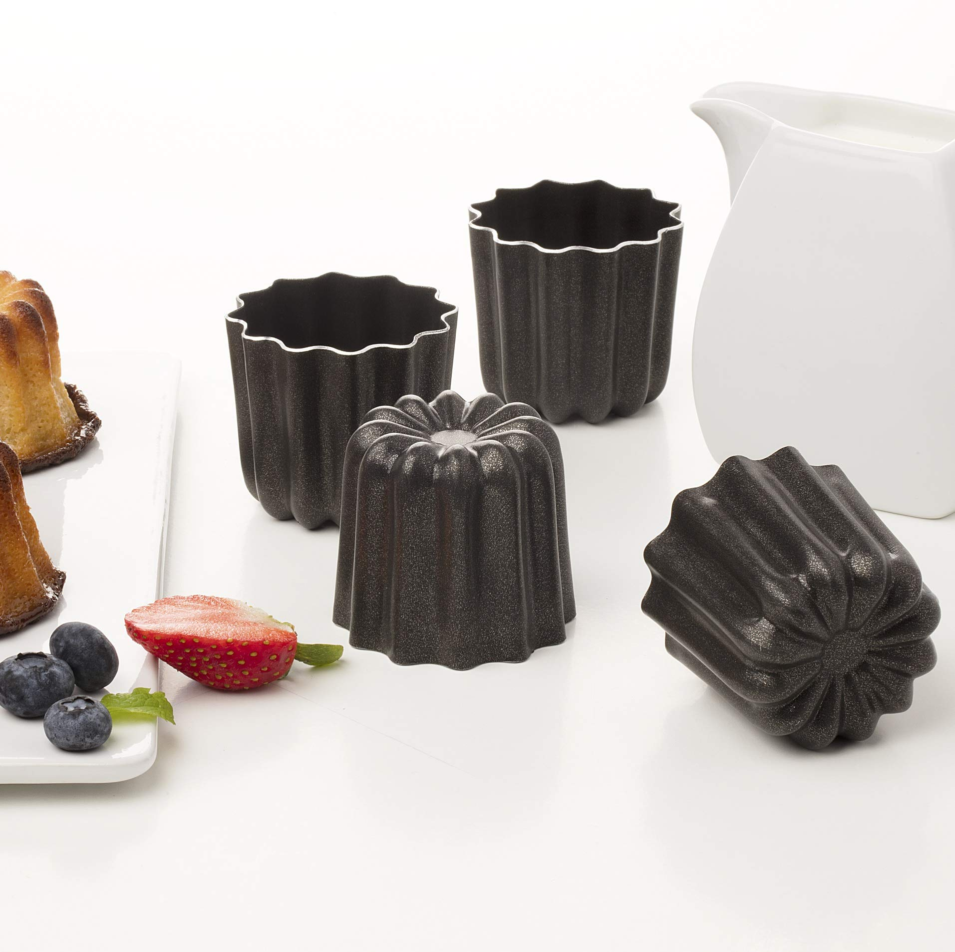 Pack of 4 NonStick Molds Cannele From Bordeaux French Custard Coffee Cake Traditional Pastry - 2.3 Inches