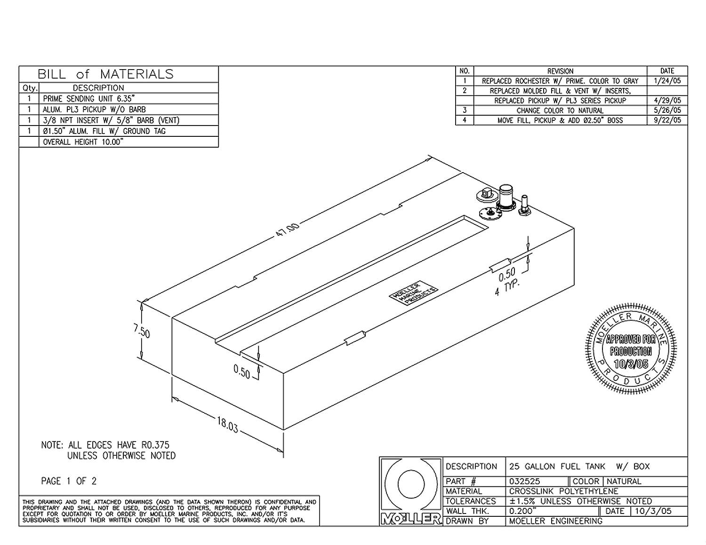 Amazon.com : Moeller Marine Below Deck Permanent Fuel Tank (25 ...